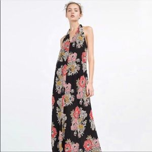 Zara Trafaluc Floral Halter sheer maxi dress
